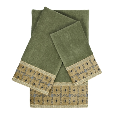 Sherry Kline Gateway Sage 3-piece Embellished Towel Set