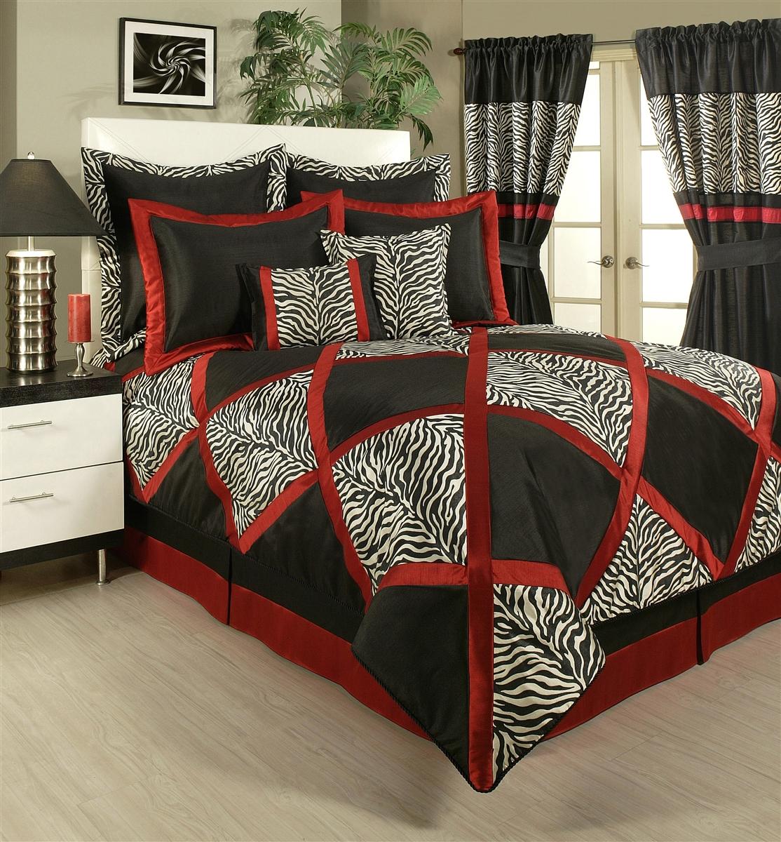 Sherry Kline True Safari Red White Black 4 Piece Comforter Set