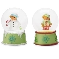 TEDDIE CHRISTMAS GLITTER DOME - Set of 2