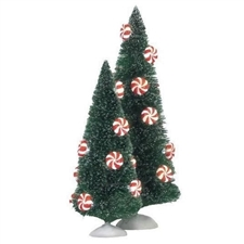 Peppermint Lit Sisal Trees Set of 2