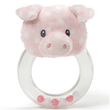 Polka Dot Plush Roly Polys Pig Ring Rattle
