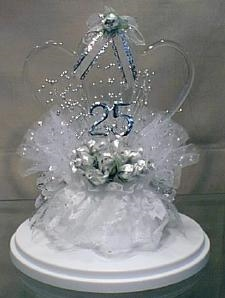 25th Anniversary Double Heart Caketopper