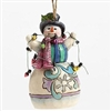 Snowman Wrapped In Lights - Ornament