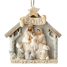White Woodland Nativity - Dated 2018 Christmas Ornament