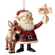 Rudolph & Santa North Pole Christmas Ornament