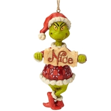 Grinch Naughty Or Nice Sign Christmas Ornament