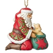 Santa with Puppy Ornament