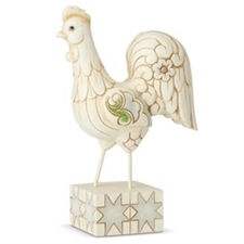 Early To Rise - White Farmhouse Rooster