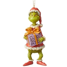 Grinch Holding Present - Ornament