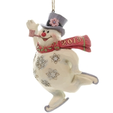 Frosty Ice Skating Dated 2019 Ornament