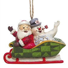 Santa And Frosty In Sleigh Ornament