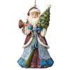 Victorian Santa With Horn Ornament