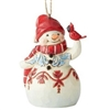 Mini Red And White Snowman Hanging Ornament