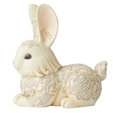 Guarded By Angels - White Woodland Bunny Statue