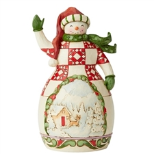 Share A Smile - Red And Green Snowman with Scene