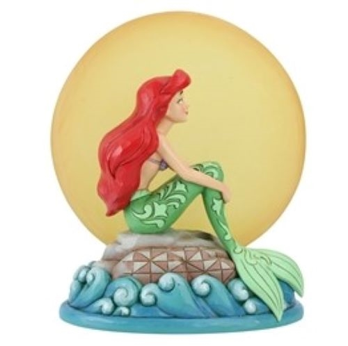 Mermaid by Moonlight - Ariel Sitting on Rock by Moon