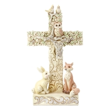 Great And Small, He Loves Us All - Woodland Cross with Animals