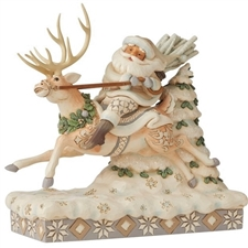 On Course For Christmas - Woodland Santa Riding Reindeer