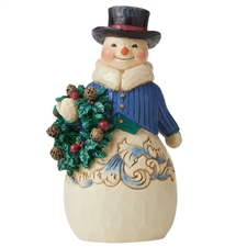 Right Hearty Winter Wishes - Victorian Snowman with Wreath
