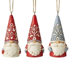 Nordic Mini Gnomes 3 Piece Ornament Set