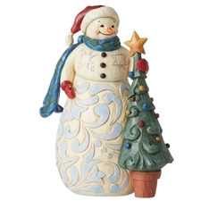 Christmas Time Is Cherished Time - Snowman with Tree figurine