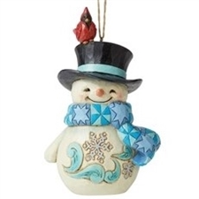 Snowman with Cardinal on Hat Ornament