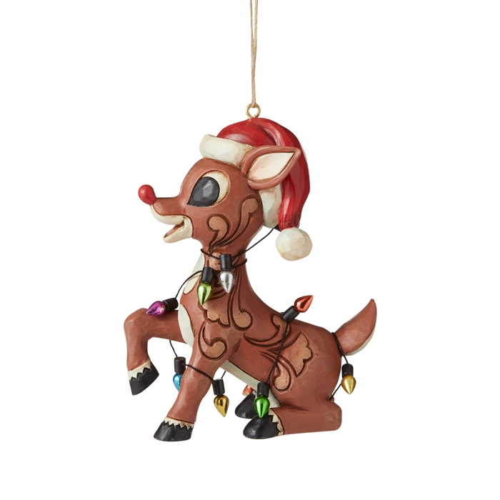 Rudolph Wrapped In Lights Ornament