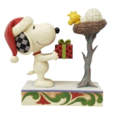 A Snowy Gift - Snoopy giving Woodstock a Gift