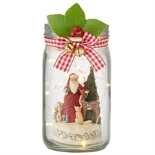 Gathered For The Holiday - Lighted Glass Jar with Santa