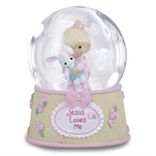 Jesus Loves Me Musical Water Globe - Girl