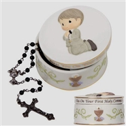Bless You On Yor First Communion Rosary Box With White Rosary - Boy