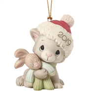Christmas Kitty Cuddles, 2019 Dated Porcelain Ornament