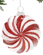 Red & White Striped Ball - Ornament
