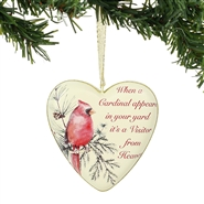 Cardinal Remembrance Heart Ornament