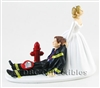 Firefighter Now I Have You  - Black Gear - Wedding Cake topper