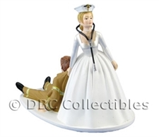 Nurse With Stethoscope Bride Dragging Firefighter Groom- Wedding Cake topper