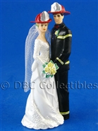 Mr And Mrs Firefighter Our Day Black Gear- Wedding Cake topper