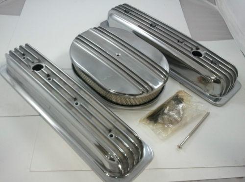 SB Chevy Finned Tall Center Bolt  Aluminum Engine Dress Up Kit  5.0 5.7 305 350