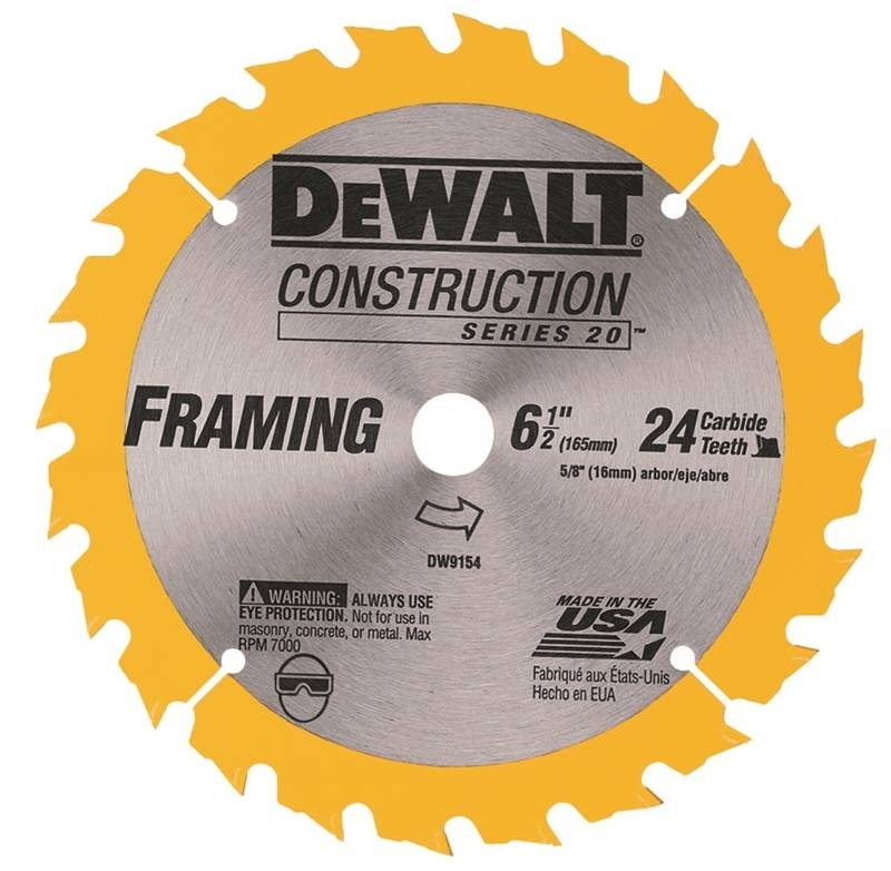 Dewalt DW9154 Heavy Duty Circular Saw Blade, 6-1/2 in Dia x 0 039 in T, 24  Teeth