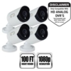 4 Pk 1080p Wired  Sec Cam Wht