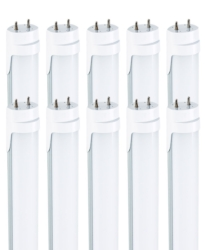 22W 4ft LED tube 5000K Clear 10 pack