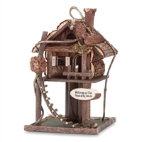 Log Tree Bird House Feeder