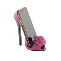 Sparkling Pink Rose Shoe Phone Holder
