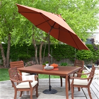 9-Ft Tilt Patio Umbrella with Rust Red Orange Shade and Bronze Finish Pole
