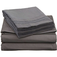 King size Microfiber Sheet Set in Charcoal Stone Gray