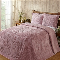 Full size 100-Percent Cotton Chenille Bedspread in Pink - Machine Wash