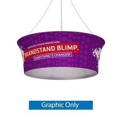 10ft x 36in Single Sided Graphic Print for Blimp Tapered Tube Hanging Display present your brand or convey your message fast, up high and from all directions. Available in exciting shapes and practical sizes to meet any trade show or event need