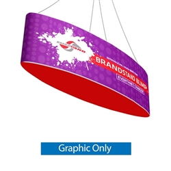 The Blimp Ellipse hanging banner frame present your brand or convey your message fast, up high and from all directions. It is composed of a cold drawn Aluminum frame that is quick and easy to setup, NO TOOLS. Dye-Sublimated banners