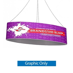 The BrandStand Blimp Ellipse hanging banner frame present your brand or convey your message fast, up high and from all directions. It is composed of a cold drawn Aluminum frame that is quick and easy to setup, NO TOOLS. Dye-Sublimated banners