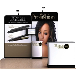 Scallop A 10ft Waveline Single-Sided Tension Fabric trade show display, attention grabbing convention booth, is an all inclusive display that is affordable. Scallop 10 ft WaveLine Media Display is part of an amazing collection of Booth Display Kits